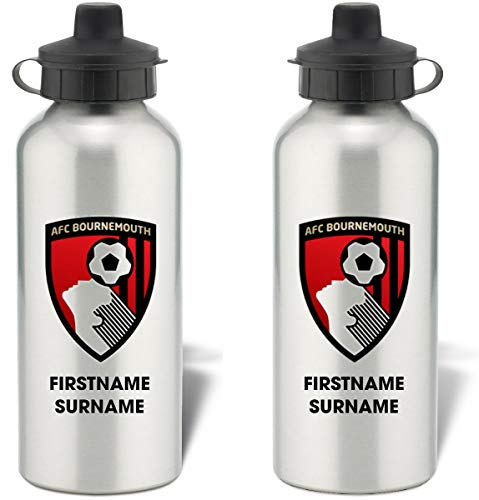 AFC Bournemouth Personalised Bold Crest Aluminium Sports Water Bottle - Silver Bottle