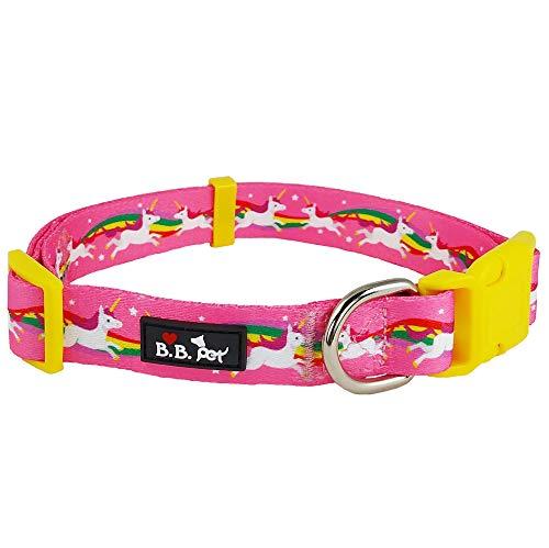 "Bestbuddy Pet Large Neck 18""-26"" Unicorn and Rainbow Hot Pink Fairytale Durable Nylon Designer Fashion Dog Collar Trendy Comfortable Adjustable Dog Collar with Buckle BBP002-L"