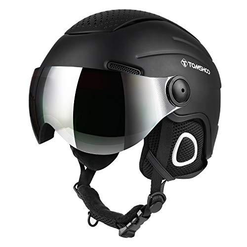 Casco de esquí, Casco de Seguridad Certificado Esquí Profesional Snowboard Casco de Deportes de Nieve Orejera Desmontable Gafas integradas/Sin Gafas (Negro Nuevo, M)