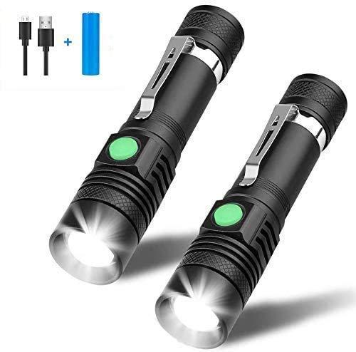 LED Taschenlampe, Winzwon USB Wiederaufladbare Taschenlampen, LED Taschenlampe Extrem Hell, Wasserdicht Flashlight für Kinder, Outdoor Camping Wandern (2 Pack)
