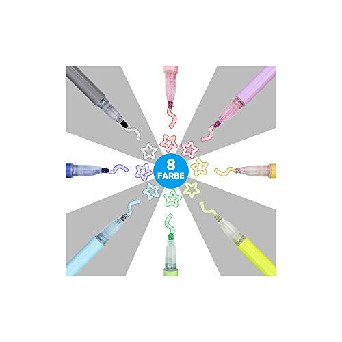 LATTCURE Outline - Juego de 8 rotuladores de doble línea, rotuladores mágicos, doble línea, doble línea, metálicos, con purpurina, para pintar, álbum de fotos, scrapbook