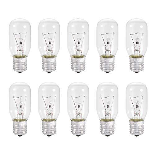 N/A 10 Stück T25 E17 Ersatzlampen für Mikrowelle für die meisten Backofen Ge Ersatz für die Zwischensockel E17-40 W/AC 110 V-130 V, warmweißes Licht