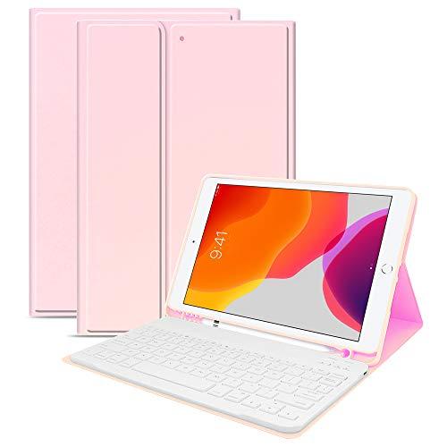 Lusenbo Funda con Teclado para For iPad 10.2(2019), Funda de Cuero Bluetooth Desmontable para Teclado con Folio, Funda con Teclado inalámbrico para Tableta portátil Rosado