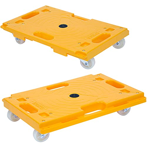 Mount-It! Small Platform Dolly - 2 Pack   Each Securely Holds 220 Pounds   Piano Moving Dolly Also Moves Couches, Fridges, Boxes   Square Dolly Cart Smoothly Rolls Without Harming Floors