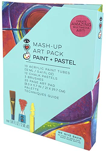 iHeartArt Mash-Up Art Supply Kit Paint & Pastel Complete Art Set with Brushes by Bright Stripes - Multimedia Acrylic Paint Set with Chalk Pastel Set