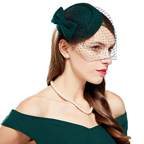 Coucoland Fascinators hoed met strik mesh net bruiloft bruid elegante fascinator haarband Engelse cocktail thee party dames carnaval kostuum accessoires