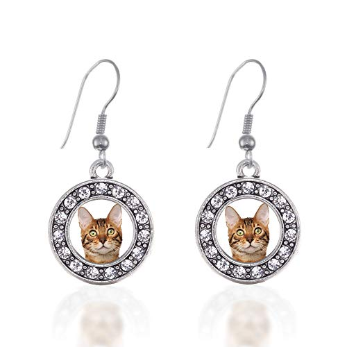 Inspired Silver - Bengal Cat Charm Earrings for Women - Silver Circle Charm French Hook Drop Earrings with Cubic Zirconia Jewelry