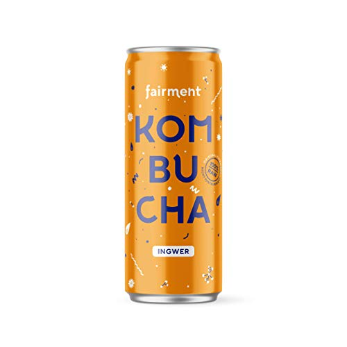 Fairment Bio Kombucha Tee 12x 330 ml, unpasteurisiert, vegan, raw und lebendig (Ingwer)