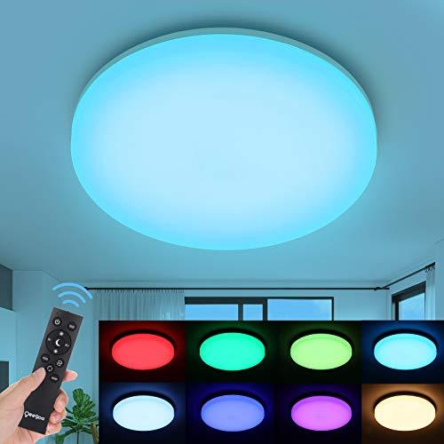 Oeegoo LED Deckenleuchte Dimmbar, LED Deckenlampe RGB Farbwechsel, 18W 1800LM Flimmerfrei LED Leuchte mit Fernbedienung, IP54 wasserdicht Badleuchte Wohnzimmerlampe Schlafzimmerlampe Kinderzimmerlampe