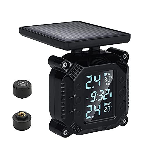 OBEST TPMS Moto Sistema de Monitoreo de Presión Neumáticos, Solar Power Presión de Neumáticos Manómetro de Motocicleta Impermeable con 2 Sensores Externos, Carga Solar y Carga USB magnética