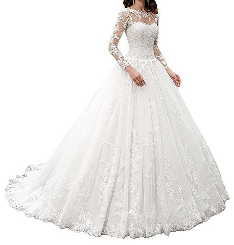 APXPF Femme Manches Longues Robes Vintage décolleté Illusion Robe de mariée en Dentelle de mariée 12 Blanc