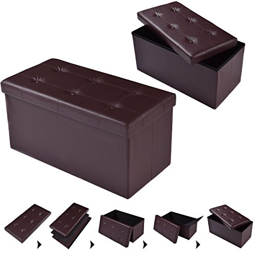 COSTWAY Sitzbank Sitzhocker Sitzbox Aufbewahrungsbox, Sitzwürfel Hocker, Polsterhocker faltbar, Truhe Bank, Sitztruhe PVC-Leder 76 x 38 x 38cm, Sitzkasten Farbwahl (Braun)