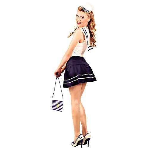Linda Bolsa Colgante Marinera - Azul-Blanco - Moderna Cartera de Hombro Mujer Marina - Ideal para Carnaval y Festivales de Verano
