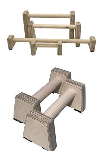 Barbarian Range Wooden Parallettes Parallel Bars Made from Hardwood Multiple Sizes (Low)
