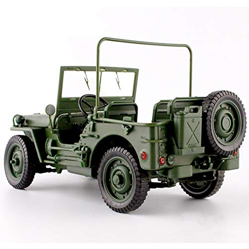 YXYOL Alloy Car Model Ornaments,Car Model Alloy Diecast 1:18 Willys Jeep Military Tactics Truck Opening Hood Panels To Reveal Engine Decoration Gift