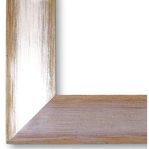 Online Galerie Bingold Bilderrahmen Malta Silber Orange 3,9 I 50 x 70 cm mit Museumsglas (WRU) I handgefertigte Holz Posterrahmen Urkundenrahmen I Holzrahmen mit Glas und Montagematerial