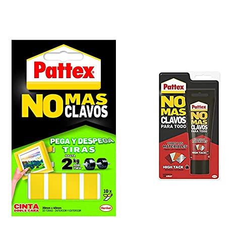 Pattex Cinta De Doble Cara A Tiras No Más Clavos Fijación Removible + No Mas Clavos Para Todo Hightack Adhesivo De Montaje Resistente A Temperaturas Extremas