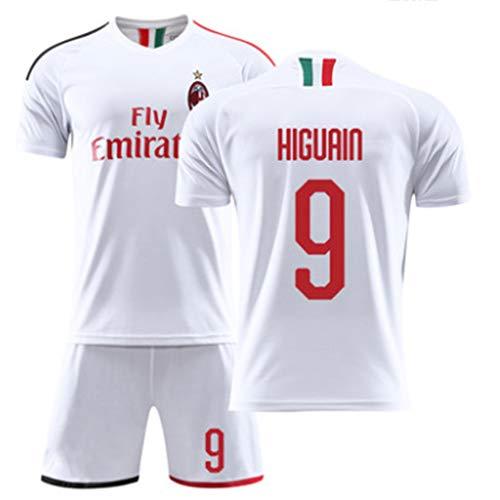 LASERIPLF Milan Home Fußballtrikot Competition Fußballuniform Fußball Jersey Set für Kinder/männer,9# Higuaín 22# Kaka 10# Çalhanoğlu Fußball Fans Sportswear-#9-XXL