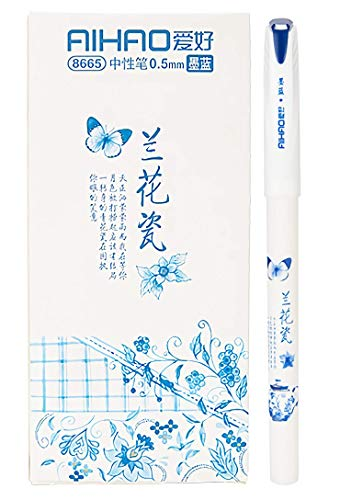 Gel Pens with durk blue ink Ballpoint Pens Fine Point Pens Roller Ball Smooth Writing Pens for Office Home Work, 0.5mm Fine Tip Pen,Orchid porcelain pattern (12-Pack) (Durk blue)
