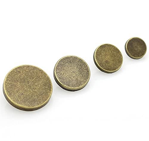 LWCHJ 30ピース急いで急いで青銅色のボタン30個/ロットメタルボタンフラットミラースーツジャケットコート純粋なバックレメタルボタン (Size : 15mm)