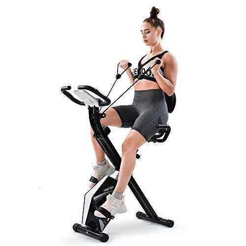 Belissy Bicicleta estática, plegable, dispositivo de entrenamiento cardio, 110 kg, plegable, 8 niveles de resistencia, con sensores de pulso y ordenador de entrenamiento (color blanco)