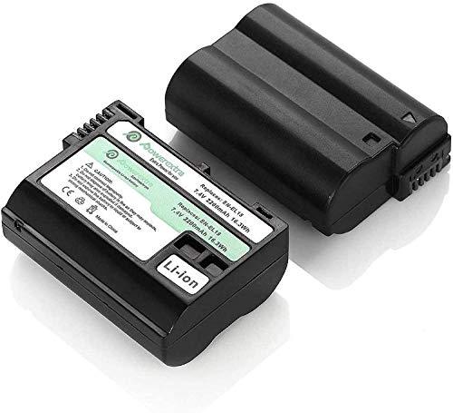 Powerextra Batería de Repuesto Nikon EN-EL15 de Repuesto 2 Paquetes para Cámaras Nikon ENEL15 MH-25 MH-25a y Nikon D7100 D750 D7000 D7200 D810 D610 D800 D600 D500 D800E D810A 1v1 Cámara