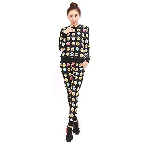 Surenow - Conjunto de chándal de estar por casa completo, para mujer, con camiseta y pantalones, estampado de emoticonos en 3D felpa nera Medium
