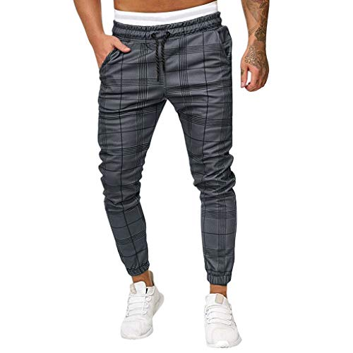 Tomatoa Herren Jogging Bottoms Karo Gestreifte Hose Sport Trousersregular Fit Anzug Dunkelgrau Men's Long Casual Sport Pants Slim Fit Plaid Trousers Running Joggers Sweatpants