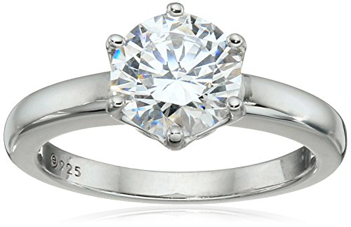 Amazon Collection Platinum-Plated Sterling Silver Solitaire Ring set with Round Swarovski Zirconia (2 cttw)  Size 7
