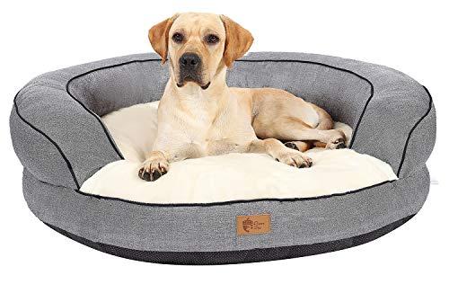 AcornPets® B-1602 Ultimate Luxury Grey Donut Round Shape Extra Large Dog Sofa Bed Fleece Extra Thicken Jumbo Size 110 x 110 CM,Detachable and Washable