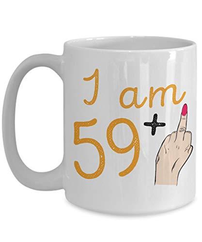 Egoa mok 60e verjaardag Ich Bin 59 + middelvinger - Vrouwen Beste 60 verjaardag zestigste vrouw keramische mok noviteit 330 ml Grappige houdbare thee porseleinen mok geschenk mode