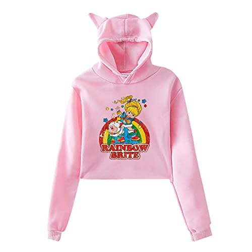 Women's Rainbow Brite Pink Cats Ears Hoodie, S to 2XL