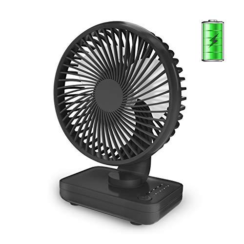 Aluan Small Desk Fan, Quiet Portable Fan, Rechargeable Battery Operated Personal Fan for Home Office Bedroom Desktop Table, 4 Speeds, Black