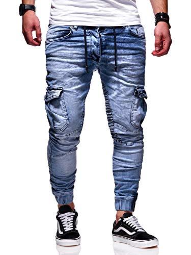 behype. Herren Cargo-Jeans Jogger-Jeans Biker Jeans-Hose 80-2370 Hellblau W32