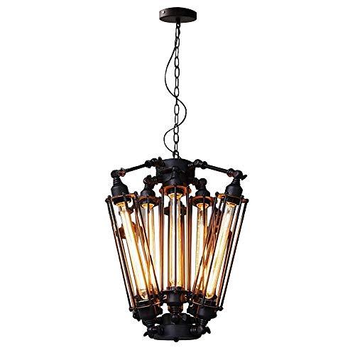 GaLon hanglamp, industriële decoratie, zwart, kroonluchter van staal, Steampunk, met 8 lampen
