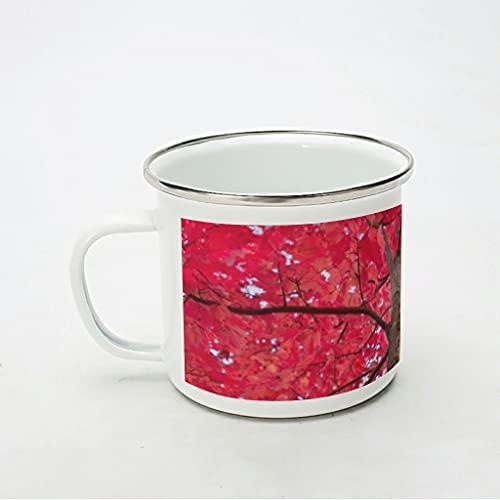 KittyliNO5 Taza esmaltada de arce rojo otoñal, hoja de árbol y hojas, taza de café reutilizable para el hogar, oficina, viajes, camping, color blanco, 350 ml