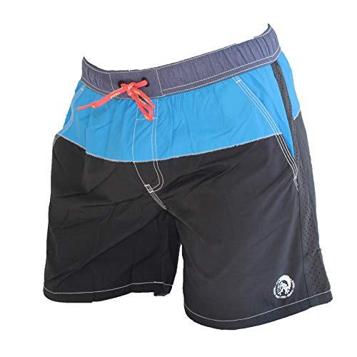 Diesel Men's Caybay Colorblock Long 16inch Swim Trunk, Black, Small