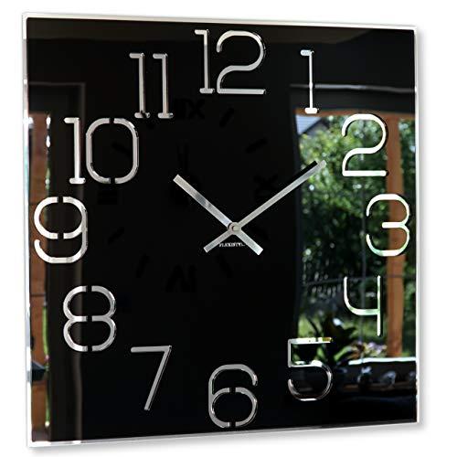 Wanduhr groß quadratisch Digit 50cm Durchmesser, ohne tickgeräusche modern, Design Acrylglas und Acrylspiegel, Wohnzimmer, Schlafzimmer (Schwarz)