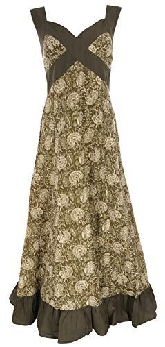 Guru-Shop Sommerkleid, Maxikleid, Strandkleid, Damen, Olivgrün, Baumwolle, Size:M/L (40), Lange & Midi-Kleider Alternative Bekleidung