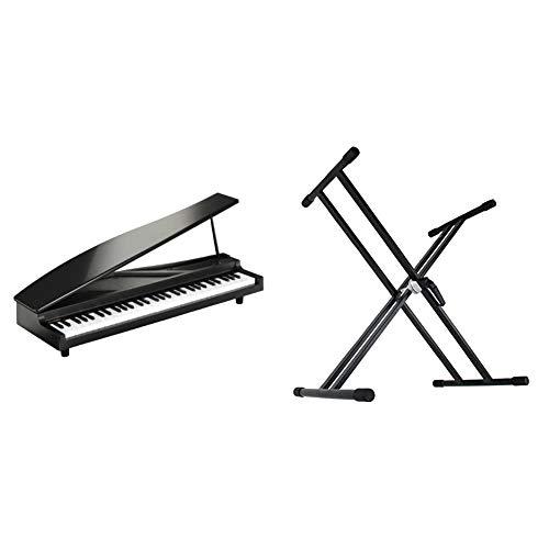 【セット買い】KORG MICROPIANO マイクロピアノ ミニ鍵盤61鍵 ブラック 61曲のデモソング内蔵 自動演奏可能 & Dicon Audio KS-020 Keyboard Stand X型キーボードスタンド ダブルレッグ
