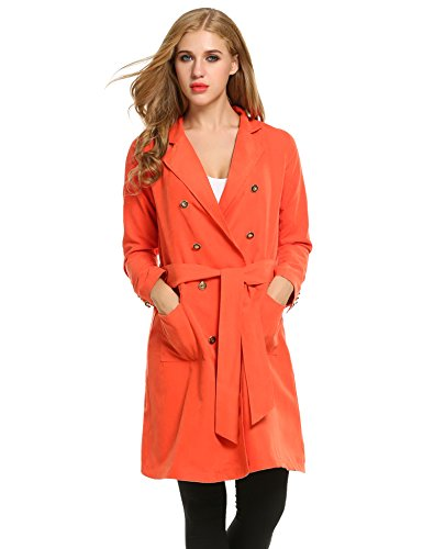 Zeagoo Women's Lapel Double Breasted Solid Casual Loose Trench Coat With Belt