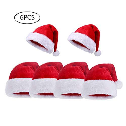 kexin lin 6PCS Cappello Babbo Natale Peluche, Cappellini Natale, Cappellino Babbo Natale,4 Adulti Cappello+2 Bambini Cappello