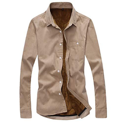 DNOQN Herren Kurze Art Cord Normallack Warme Beiläufige Lange Hülsen Jacken Blusen Oberseite Herren Freizeit Herbst Poloshirt T Shirt Lang...