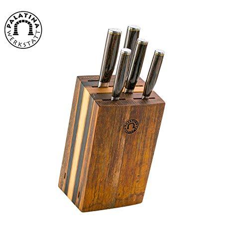 exklusiver, von handgefertigter Messerblock aus Alten Fassdauben + 5 Kai Shun Premier Damastmesser Tim Mälzer Serie Japanische Profimesser (Variante C)