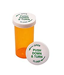 Image: Cafe Cubano(r) Amber Vials | 6 Dram Pharmacy Plastic Prescription Vials with Child Resistant Snap Caps
