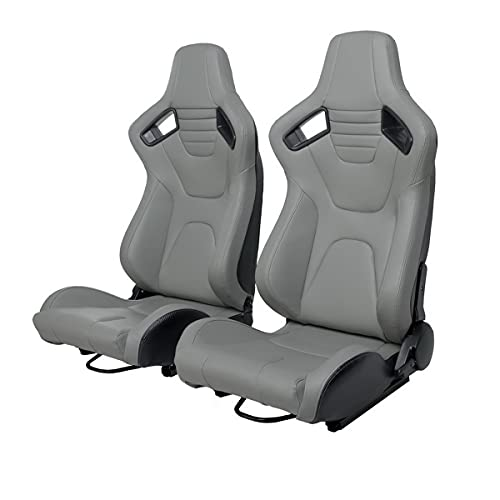 WIILAYOK Racing Seats, 1 Pair Universal PVC Leather Racing Bucket Seats with Dual Lock Sliders for Front-Back Adjustment, Automotive Racing Sports Seats for Cars (Gray)