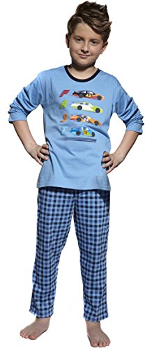 Cornette Jungen Schlafanzug CR-809-Kids (Blau/Marineblau, 110-116)