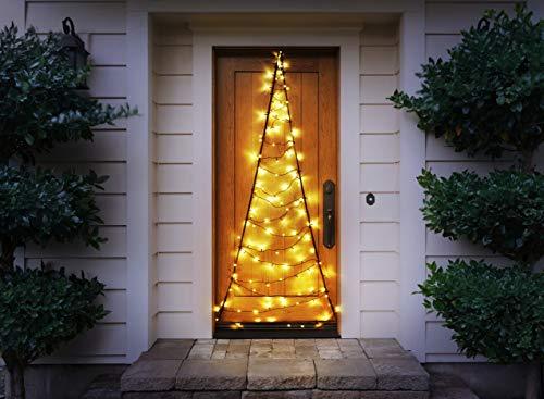 LED Lichtervorhang mit warm-weißer Beleuchtung, 120 LEDs, praktischer Timer, tolle Weihnachtsbeleuchtung für Innen & Außen, 75 x 210 cm, strombetrieben