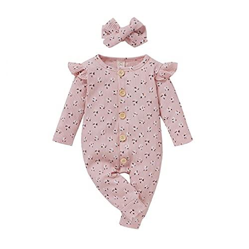 Body de manga larga para niña, diseño de flores, con cinta para la cabeza, de algodón, talla única, Rosa., 3-6 Meses