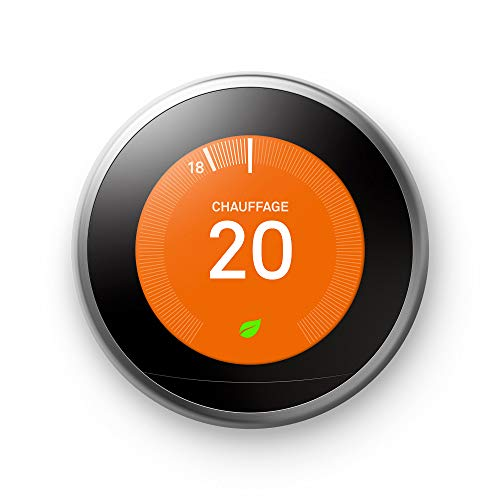 Nest Learning Thermostat 3rd gen. - Termostato inteligente (Acero inoxidable, Analógico, 53 x 53 mm, lithium-ion) Edición Francesa